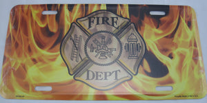 Fire Department Flames Hero Aluminum Embossed License Plate