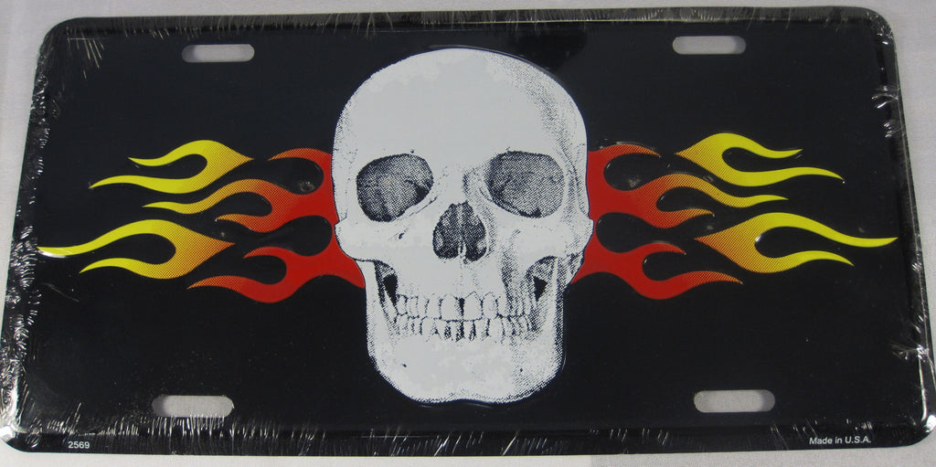 Flaming Skull Aluminum Embossed License Plate
