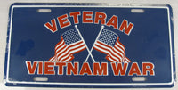 Vietnam Veteran American Flags Aluminum Embossed License Plate