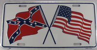 Confederate American Flags Crossed Aluminum Embossed License Plate