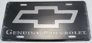Genuine Chevrolet Black And Silver Bow Tie Aluminum Embossed License Plate