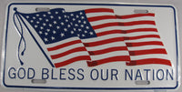 God Bless Our Nation American Flag Aluminum Embossed License Plate