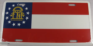 Georgia State GA Flag Aluminum Embossed License Plate