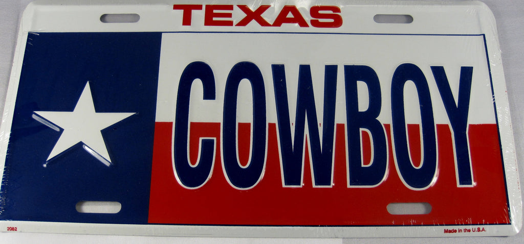 Texas Cowboy TX State Flag Aluminum Embossed License Plate