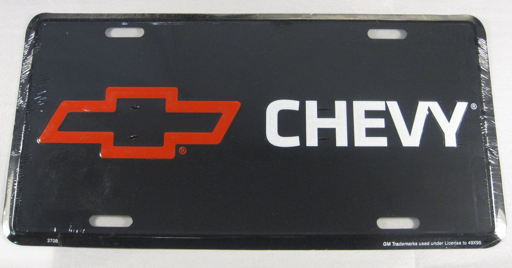 Chevy Black Aluminum Embossed License Plate