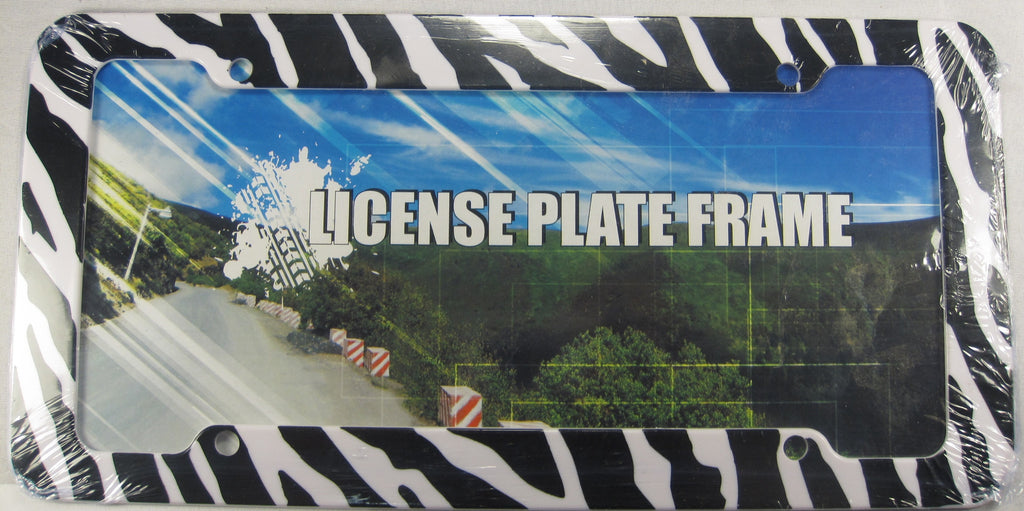 Zebra Stripes Black And White Plastic License Plate Frame