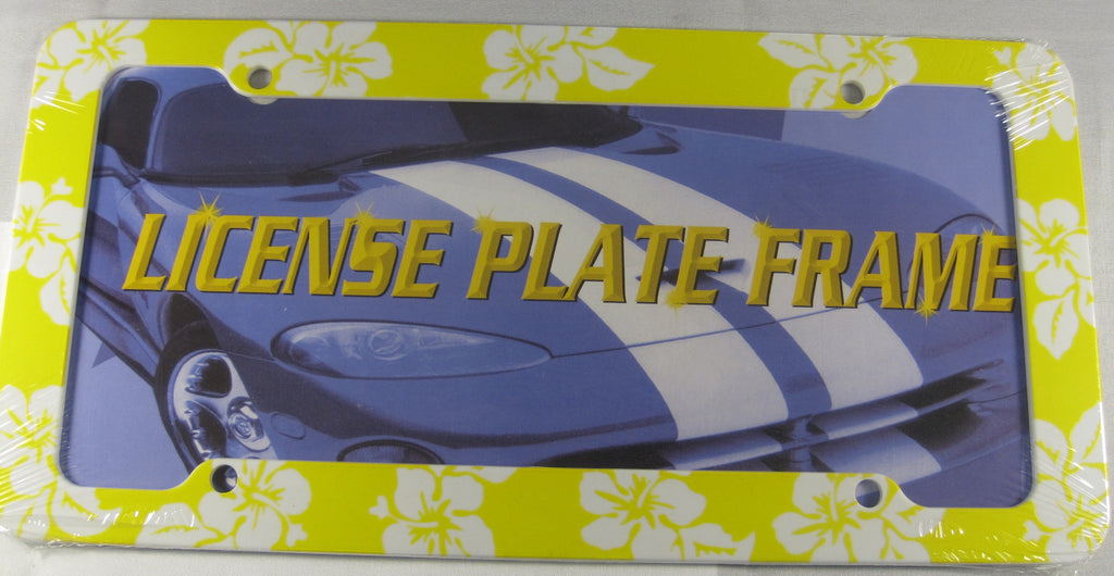 Habiscus Yellow Hawaiian Flower Plastic License Plate Frame