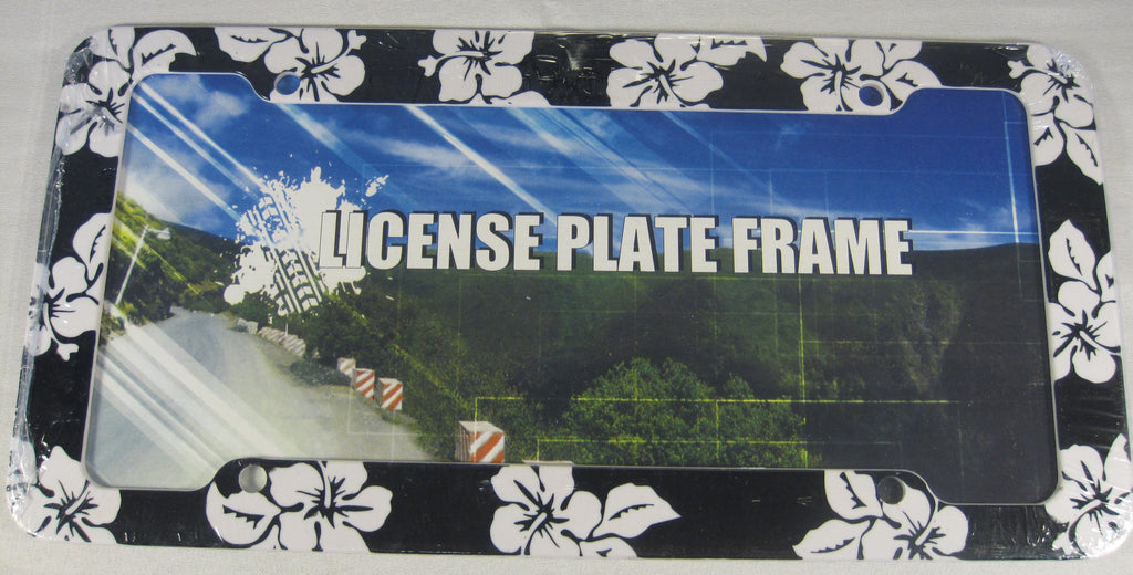 Habiscus Black Hawaiian Flower Plastic License Plate Frame