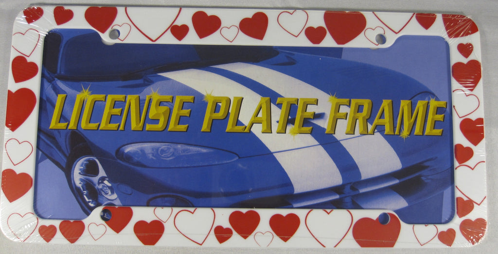 Heart Valentines Day Love White Plastic License Plate Frame