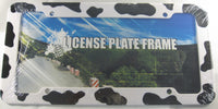 Cow Print Black And White Plastic License Plate Frame