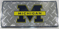 University of Michigan UM Wolverines Diamond Plate Aluminum Embossed License Plate