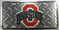 Ohio State University OSU  Diamond Plate Aluminum Embossed License Plate