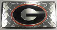 University of Georgia Bulldogs UGA Diamond Plate Aluminum Embossed License Plate