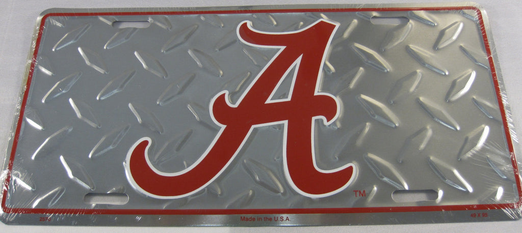 University of Alabama UOA Crimson Tide UA Diamond Plate Aluminum Embossed License Plate