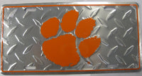 Clemson University CU Tigers Diamond Plate Aluminum Embossed License Plate