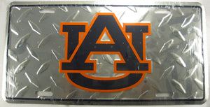 Auburn University UA Tigers Diamond Plate Aluminum Embossed License Plate