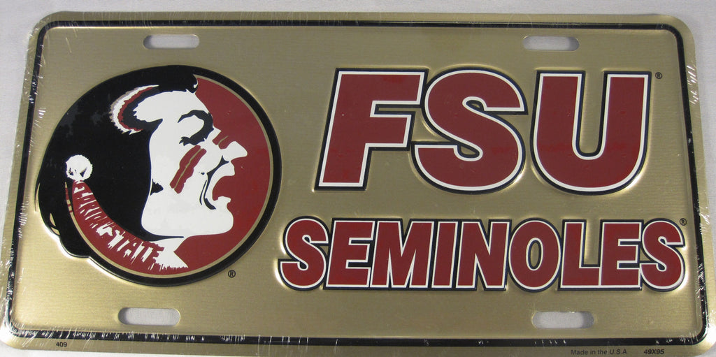 Florida State Seminoles FSU Aluminum Embossed License Plate