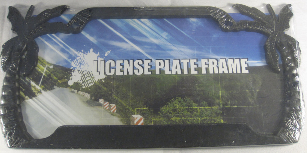 Black Tropical Palm Tree Metal License Plate Frame