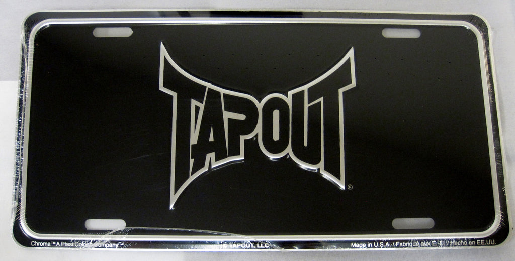 Tapout Black MMA Fighting Aluminum Embossed License Plate