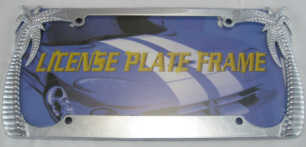 Palm Tree Silver Tone Tropical Metal License Plate Frame