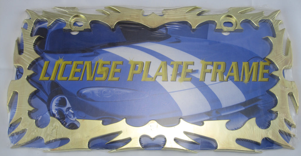 Tribal Flame Gold Tone Metal License Plate Frame