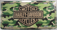 Harley Davidson Motorcycles Bar And Shield Woodland Camo Aluminum Embossed License Plate