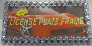 Skull Heads Chome Linked Metal License Plate Frame
