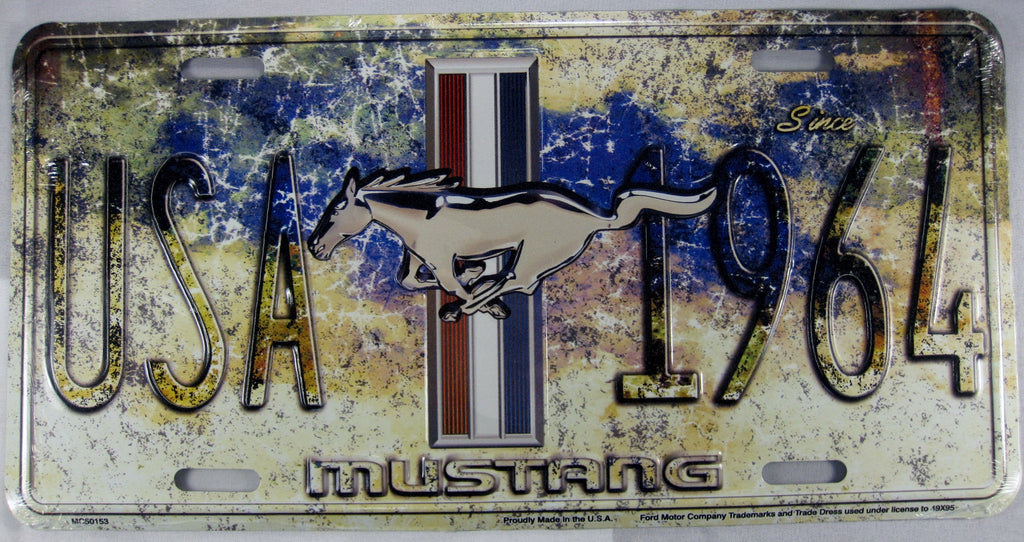 USA Ford 1964 Mustang Horse Aluminum Embossed License Plate