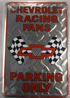Chevrolet Racing Fans Parking Only Sign Chevy Diamond Plate Aluminum Embossed License Plate