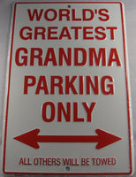 World's Greatest Grandma Parking Only Sign Aluminum Embossed License Plate