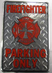 Fire Fighter Fire Rescue Parking Only Sign Diamond Plate Aluminum Embossed License Plate
