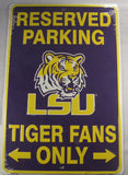 University Of Louisiana LSU Reserved Fans Parking Sign Aluminum Embossed License Plate