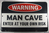 Man Cave Sign Warning Enter At Your Own Risk Aluminum Embossed License Plate
