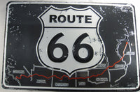 Route 66 Amercan Highway Map Sign Aluminum Embossed License Plate