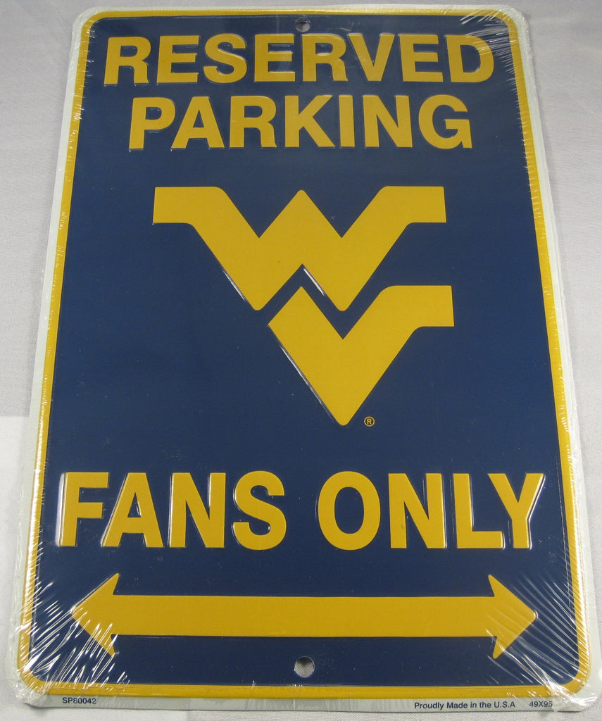 West Virginia University Mountaineers Reserved Parking Sign WVU Aluminum Embossed License Plate
