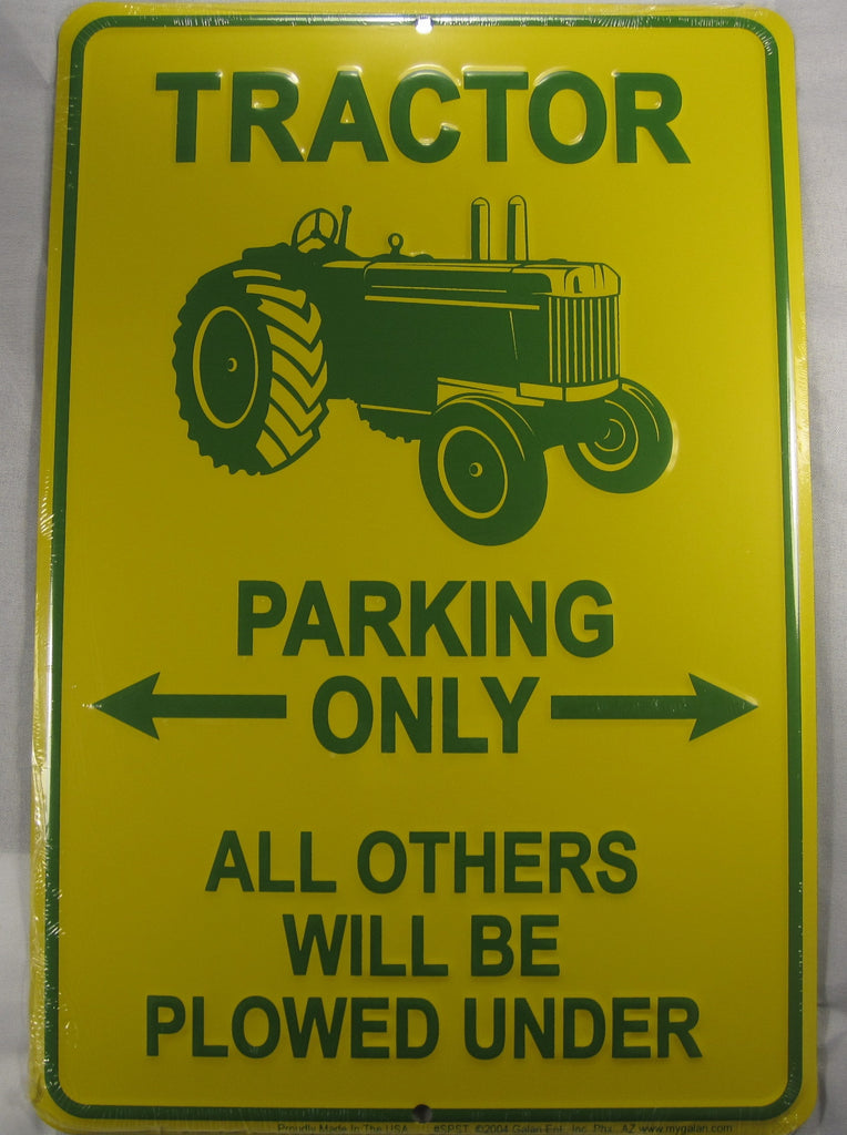 Tractor Parking Only Sign Aluminum Embossed License Plate