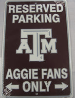 Texas A&M Aggies Fans Parking Only Aluminum Embossed License Plate