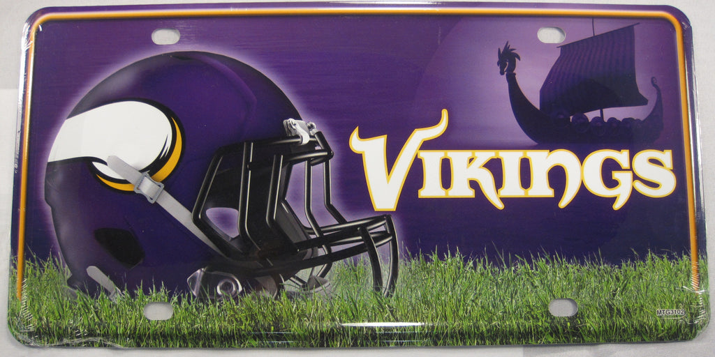 Minnesota Vikings Helmet Aluminum Embossed License Plate