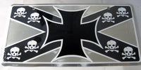 Pirate Iron Cross Jolly Rodger Flag Sign Skull Bones Aluminum Embossed License Plate