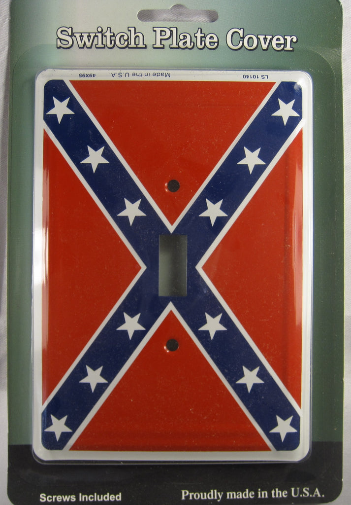 Confederate Rebel Flag Aluminum Embossed Light Switch Plate Cover Man Cave