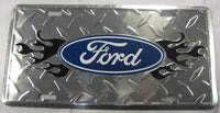 Ford Racing Flames Diamond plate Aluminum Embossed License Plate