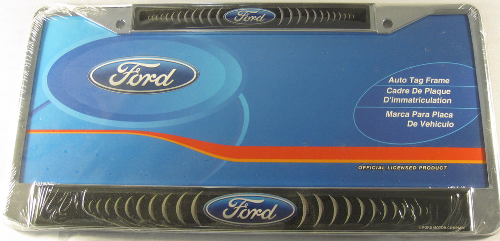 Ford Logo Chrome Black Metal License Plate Frame