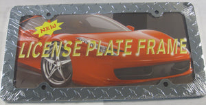 Diamond Plate Metal License Plate Frame