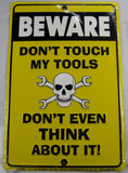 Beware Dont Touch My Tools Skull Cross Wrenches Aluminum Embossed License Plate