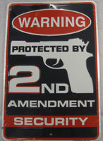 Warning Protected By 2nd Amendment Gun Aluminum Embossed License Plate