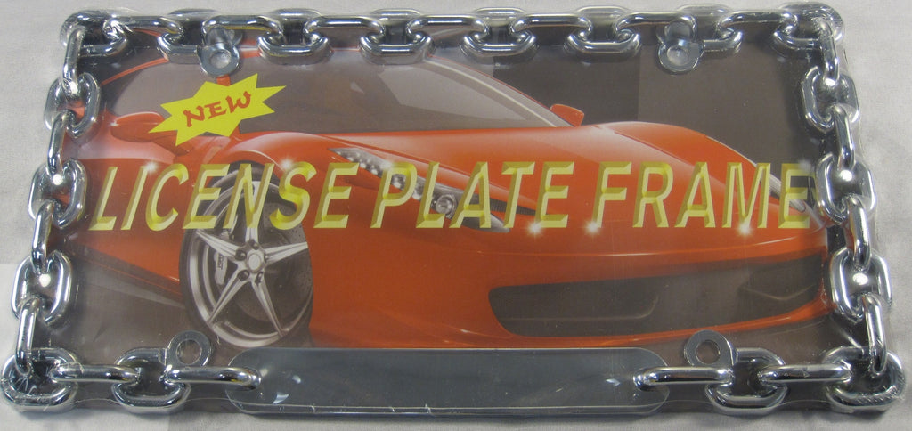 Chain Link Chrome Metal License Plate Frame