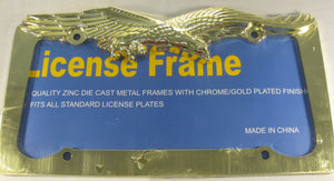 Eagle Gold Tone Metal License Plate Frame