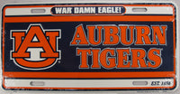 Auburn University UA Tigers Aluminum Embossed License Plate