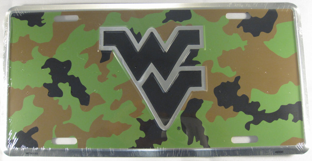 West Virginia University Mountaineers WVU Green Camo Aluminum Embossed License Plate