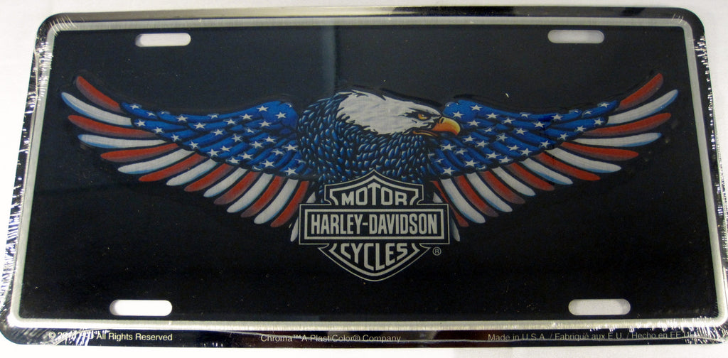 Harley Davidson Motorcycles American Flag Eagle Aluminum Embossed License Plate